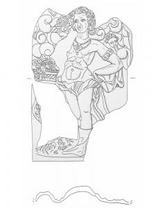 Fragment einer Blattkachel mit dem Frühling aus der Serie der Jahreszeiten nach Matham in schuppenbesetztem Rahmen, graphitiert, 17. Jh., Rastatt, Archäologisches Landesmuseum Baden-Württemberg, Zentrales Fundarchiv, urspr. Karlsruhe-Durlach, Amthausstraße