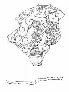 Fragment des Innenfelds einer Blattkachel mit dem Winter aus der Serie der Jahreszeiten nach Matham, graphitiert, 17. Jh., Rastatt, Archäologisches Landesmuseum Baden-Württemberg, Zentrales Fundarchiv, urspr. Karlsruhe-Durlach, Amthausstraße
