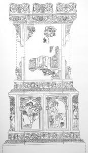 Rekonstruktion des keramischen Oberofens mit Blattkacheln aus der Serie der Jahreszeiten nach Jacob Matham aus Karlsruhe-Durlach, Amthausstrasse