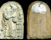 Fragment des Models des Innenfelds einer Blattkachel mit dem Winter in der Art der Serie der Jahreszeiten nach Matham, unglasiert, dat. 1706, H. 22,0 cm, Br. 14,5 cm, Strasbourg, Musée Historique