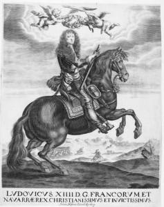 Ludwig XIV. zu Pferde . Kupferstich von einem unbekannten Künstler, verlegt von Johann Hoffmann, Nürnberg, zwischen 1655 und 1698