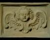 Fragment des Models einer Blattkachel mit geflügeltem Puttenkopf, unglasiert, Anfang 18. Jh., H. 18,5 cm; Br. 26,5 cm, Stuttgart, Württembergisches Landesmuseum