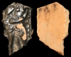 Fragment einer Eckkachel mit dem Sündenfall und der Vertreibung aus dem Paradies, dunkelbraun glasiert, Anfang 17. Jh., H. 14,0 cm, Br. 8,5 cm, Speyer, Historisches Museum der Pfalz, urspr. Hardenburg