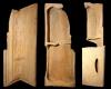 Fragment des Models einer Eckkachel mit dem Sündenfall und der Vertreibung aus dem Paradies, unglasiert, 17. Jh., H. 59,0 cm, Br. 27,0 cm Münnerstadt, Henneberg-Museum