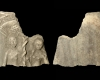 Fragment einer Blattkachel mit dem Sündenfall in einer Arkade mit lorbeerblattbesetzter Bogenlaibung, unglasiert, 2. Hälfte 16. Jh., H. 12,5 cm, Br. 12,5 cm, Mainz, Landesmuseum