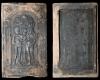 Fragment einer Blattkachel mit dem Sündenfall in einer Arkade von Hans Quis, graphitiert, 2. Hälfte 16. Jh., H. 29,8 cm, Br. 18,4 cm, Lauterbach, Hohhaus-Museum