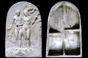 Fragment des Models des Innenfelds einer Blattkachel mit dem Sündenfall, unglasiert, HIK, 2. Hälfte 16. Jh., H. 31,0 cm, Br. 20,0 cm, Nürnberg, Germanisches Nationalmuseum