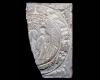 Fragment des Models einer Blattkachel mit dem Sündenfall in rundem Medaillon, unglasiert, Ende 16. Jh., H. 20,5 cm, Br. 12,5 cm, Staufen, Museum