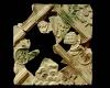 Fragment einer Blattkachel mit Tapetendekor mit Akanthusrosetten und rechtwinkligem, rankenbesetztem Band, mehrfarbig glasiert, 17. Jh., H. 21,0 cm, Br. 21,0 cm, Breisach, Museum
