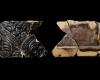 Fragment einer Blattkachel mit Tapetendekor mit Maske zwischen einem schuppenbesetzten Kielbogen, dunkelbraun glasiert, Anfang 17. Jh., H. 10,7 cm, Br. 16,7 cm, Weilbach, Depot der ArGe Gottharsberg, urspr. Amorbach, Gotthardsberg