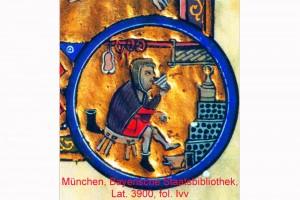 Allegorie des Monats Februar Miniatur in einem Würzburger Psalter, Franken, um 1250/59 (Roth Heege 2012, S. 153, Abb. 245)