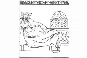 Umzeichnung eines Freskp mit einer Frau, vor einem Kachelofen liegend Wandgemälde im Haus zur Kunkel, dem Kanonikatshaus des Domherrenstiftes St. Stephan in Konstanz, erbaut 1319/20 (Franz 1981, S. 17, Fig. 5)