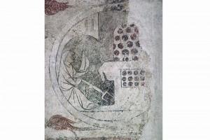 """Allegorie des Monats Dezember Wandgemälde aus dem Haus """"Zum Langen Kerl"""" (Rindermarkt 26) in Zürich, nach 1335/1345, Zürich, Schweizerisches Landesmuseum (Roth Heege 2012, S. 153, Abb. 248)"""