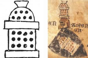 Umzeichnung eines Kachelofens auf der Züricher Wappenrolle mit dem Wappenschild der Familie Stubenwid Nordschweiz, um 1340 Zürich, Schweizerisches Landesmuseum (Franz 1981, S. 17, Fig. 4 u. Roth Heege 2012, S. 153, Abb. 247)