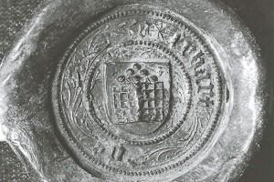 Kachelofen auf dem Siegel des Forstmeisters Erhard Doss Österreich, 1440 Wien, Haus-, Hof- und Staatsarchiv (Roth Heege 2012, S. 157, Abb. 261)