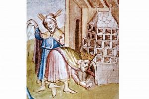 Historis Scholastica des Petrus Comestor: Heizen eines Kachelofens Kolorierte Zeichnung, Salzburg 1448 (Hazlbauer 2003, S. 182, Abb. 2)
