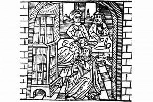 Die Freiheit und der Priester Holzschnitt, herausgegeben von Hans Volz, Nürnberg, 1482 (Franz 1981, S. 64, Fig. 21. 20)