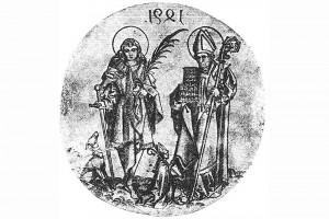 Der heilige Polykark (re.) mit einem Kachelofenmodell. Kupferstich eines unbekannten Meisters, datiert 1491 (spiegelverkehrt)