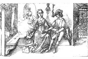 Illustration des Ternez: Thais will dem Chremes seine Schwester wiedergeben und zeigt ihm ihr Erkennungszeichen. Zeichnung von Albrecht Dürer, um 1492