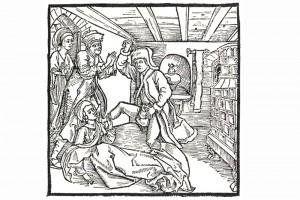 """Illustration aus """"Ritter vom Tun"""". Holzschnitt eines unbekanntne Meisters, herausgegeben in Nürnberg 1493 (Franz 1981, S. 64, Fig. 22)"""
