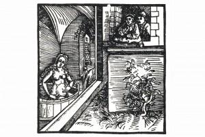 """Illustration aus """"Ritter vom Tun"""": Bathseba im Bade. Holzschnitt eines unbekanntne Meisters, herausgegeben in Nürnberg 1493 (Franz 1981, S. 64, Fig. 23)"""