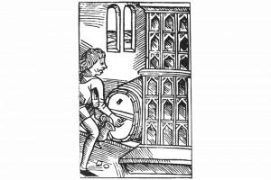 Hitze und Essig. Holzschnitt, herausgegeben von Peter Drach, Worms 1493 (Franz 1981, S. 42, Fig. 14)