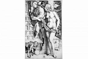 Der Traum (Die Versuchung). Kupferstich von Albrecht Dürer, Nürnberg, 1498 (Franz 1981, S. 65, Fig. 25)