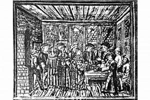 Ratsstube in Luzern. Kolorierte Zeichnung, Schweiz, Ende 15. Jahrhundert