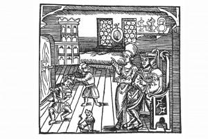 """""""Freidank"""": Häusliche Kinderzucht. Holzschnitt, herausgegeben von Sebastian Brant, Straßburg 1508 (Roth Heege 2012, S. 156, Abb. 258)"""
