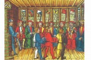 Stube mit Kachelofen mit Luzerner Kantonswappen unter dem Reichsadler. Buchmalerei, Nordschweiz, 1513 (Roth Heege 2012, S. 155, Abb. 254)