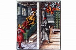 Theuredank, Kapitel 73. Holzschnitt von Leonhard Beck , 1517 (Roth Heege 2012, S. 158, Abb. 262)