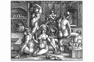 Badestube mit einem Kachelofen mit Wasserblase. Holzschnitt von Hans Springinsklee, um 1518 (Alexandre-Bidon 2000, S. 201, Fig. 07)