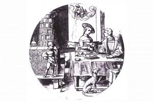 Häusliche Szene. Zeichnung von Sebald Beham, um 1520 (Hazlbauer 2003, S. 180, Abb. 1)