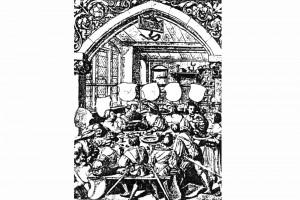 Gastmahl. Federzeichnung von Hans Holbein d. J., um 1522 (Hazlbauer 2003, S. 179, Abb. 1)