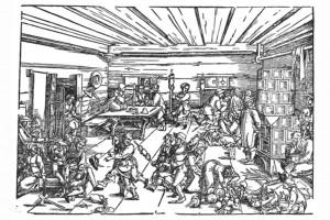 Die Spinnstube. Holzschnitt von Barthel Beham, Nürnberg 1524 (Franz 1981, S. 66, Fig. 26)