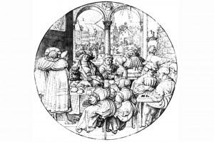 Scheibenriss mit dem Monat Januar. Zeichnung von Jörg Breu d. J., um 1525