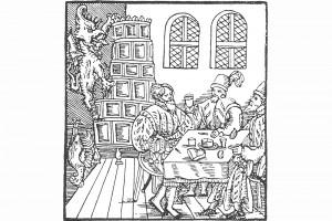 """""""Derr Teuffel lest kein Lantzkneecht mehr in die Helle faren"""" von Hans Sachs. Zeichnung aus Nürnberg, 1525 (Bedal 1997, S. 51)"""