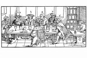 Sieben Männer klagen über ihre Weiber. Holzschnitt von Erhard Schoen, Nürnberg 1531 (Franz 1981, S. 67, Fig. 27)