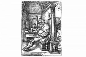 Jacob sinnt über Josefs Träume nach. Holzschnitt von Heinrich Aldegrever, 1532 (Franz 1981, S. 86, Fig. 30)