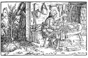 Petrarcas Trostspiegel. Holzschnitt von Hans Weiditz, Augsburg 1532 (Franz 1981, S. 23, Fig. 10)