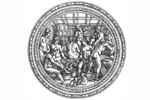 Das Frauenbad. Holzschnitt von Hans Sebald Beham, Nürnberg, um 1540 (Roth Heege 2012, S. 157, Abb. 260)