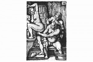 Drei Frauen in der Badestube. Kupferstich von Hans Sebald Beham, Nürnberg, um 1550 (Hazlbauer 2003, S. 184, Abb. 1)