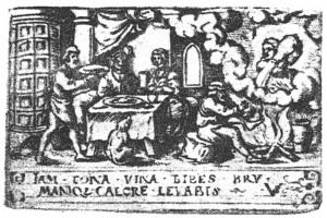 Der Monat Januar. Kupferstich von Virgil Solis, um 1550 (Hazlbauer 2003, S. 184, Abb. 5)
