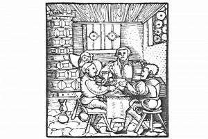 Die Zecher. Holzschnitt aus einem Flugblatt von Hans Sachs, um 1550 (Hazlbauer 2003, S. 179, Abb. 4)