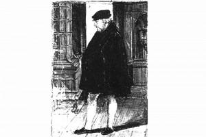 Mann vor einem Ofen. Kolorierte Zeichnung, um 1550