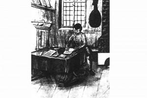 Schreiber vor einem Ofen. Kolorierte Zeichnung, Niedersachsen, um 1550