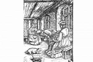 Klöpplerinnen in einer Stube. Kupferstich, Schweiz, um 1550 (Hazlbauer 2003, S. 170, Abb. 4)