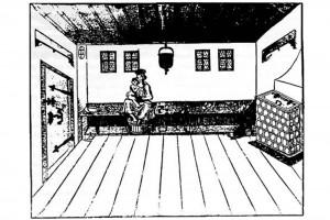 In der Badestube. Holzschnitt von Albrecht Schmid, Nürnberg, um 1550 (Alexandre-Bidon 2000, S. 203, Fig. 10)