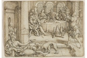 Die Geschichte vom reichen Mann und vom armen Lazarus. Kupferstich von Heinrich Aldegrever, 1554