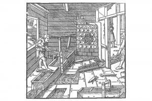 """Das erste Gerinne. Holzschnitt in Georg Agricolas """"De re metallica"""", achtes Buch, 1556 (Roth Heege 2012, S. 159, Abb. 265)"""